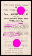 Soeur Marie Emile  WILLEMS  Aubel 1885 - Dalhem 1918 +  Couvent De Gijzegem - Overlijden