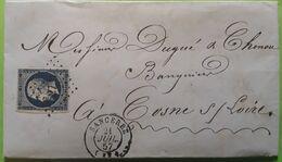 Lettre Negociant VIN SANCERRE, Cher, Cachet Facteur OL Origine Locale = ST SAINT THIBAULT,PC 2799 /Empire 14 Aa,1857,TB - 1849-1876: Klassik