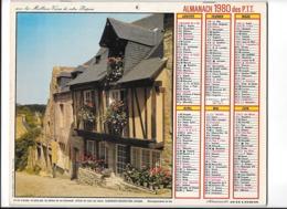 Calendrier 1980, Almanach Des P T T ,postes, Vielle Maison Dinan , Jardin D'Angers,  ,Département 30 , Double Face - Calendari