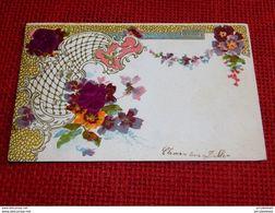 FANTAISIES  -  Carte  Art Nouveau - Décor De Fleurs - Carte Gaufrée -  1902 - Fêtes - Voeux