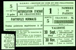 """Coupon D'achat 1944 """" Billet Autorisation D'Achat De Chaussures Pantoufles Normales 27+ """" Carte Ravitaillement Q - Specimen"""