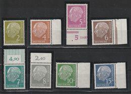 Bund, BRD 1954, Michel Nr. 177-84 Alle **, MNH, Heuss, Siehe Scan, TOP, OR, Rechter Seitenrand, 179 Mit HAN - Nuevos