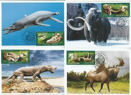 2872-2875 Mih 2655-2658 Russia 06 2020 NO EXTRA FEES Maximum Card 5 Prehistoric Fauna Dinosaurs Mammoths Paleontological - Prehistorics