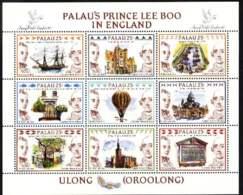 """1990-(MNH=**) Palau S.9v.emessa In Foglietto """"Londra 90, Il Principe Lee Boo In Gran Bretagna Nel 1784"""" - Palau"""