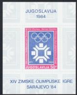 """1984-(MNH=**) Jugoslavia Foglietto 50d. """"giochi Olimpici Invernali Di Sarajevo"""" Cat.Yvert 2009 Euro 3 - Unused Stamps"""