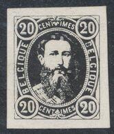 Essai - Réimpression Privée Type Effigie Léopold II Dans Un Oval, 20C Noir Sur Papier épais. - Proofs & Reprints