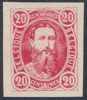 """Essai - Réimpression Privée Type Effigie Léopold II Dans Un Oval, 20C Rouge Sur Papier """"épais"""". - Proofs & Reprints"""