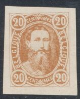 """Essai - Réimpression Privée Type Effigie Léopold II Dans Un Oval, 20C Bistre Sur Papier """"épais"""" / H. Hendrickx - Proofs & Reprints"""