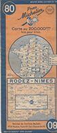 MICHELIN 80, FRANCE, RODEZ - NIMES - Cartes Routières