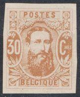 """Essai - Réimpression Privée Type Effigie Léopold II Dans Un Oval, 30C Bistre Sur Papier """"épais"""" / H. Hendrickx - Proofs & Reprints"""