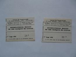 VIEUX PAPIERS - TICKET D'ENTREE : THEATRE DES CHAMPS ELYSEES - Marquis De Cuevas - Eintrittskarten