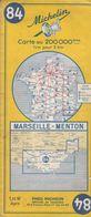 MICHELIN 84, FRANCE, MARSEILLE - MENTON - Cartes Routières
