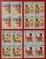 RWANDA RUANDA UNICEF BLOC OF 4 1986 MNH REVOLUTION POUR LA SURVIE DES ENFANTS CHILD CARE - Rwanda