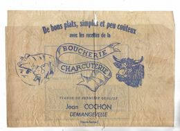 70 - Papier D' Emballage De La Boucherie-Charcuterie Jean COCHON à Demangevelle ( Hte-Saône ) - Lebensmittel