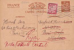 21240# IRIS ENTIER POSTAL TAXE PREOBLITERE Obl PARIS 1941 Pour BOU ARFA MAROC Puis LYON POSTE RESTANTE - Marcophilie (Lettres)
