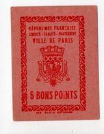 - 5 BONS POINTS VILLE DE PARIS - - Old Paper