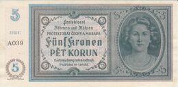 BILLETE DE CHECOSLOVAQUIA DE 5 KORUN DEL AÑO 1940 MORAVIA CALIDAD EBC (XF) (BANKNOTE) - Czechoslovakia
