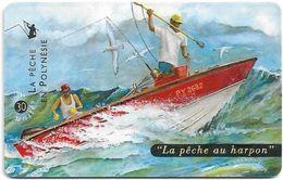 French Polynesia - OPT - La Pêche Au Harpon - Gem1B Not Symm. White/Gold, 04.1999, 30Units, 60.000ex, Used - Polinesia Francese