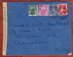 Brief, Merkurkopf U.a., Timbres Taxe Portomarken, Marcollin Nach Chamalieres, Zensur 1944 (96628) - 1859-1955 Covers & Documents