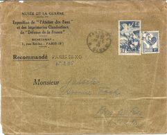 ENV. EXPOSITION DE L'ATELIER DES FAUX . RECOMMANDE PROVISOIRE + AFFRANCHISSEMENT LIBERATION - Marcophilie (Lettres)