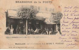 Brasserie De La Poste  Masclaux Seul Cocessionnaire De La Biere  F Pousset   Rue De Strasbourg Alger - Werbepostkarten