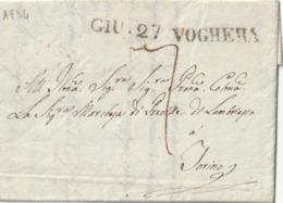 1824 -  ITALIE LAC De VOGHERA Pour TURIN Taxe 7 + Cachet Arrivé Au Verso - 1. ...-1850 Prefilatelia