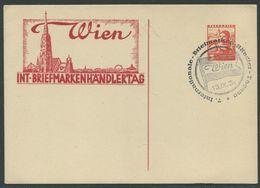 ÖSTERREICH / Karte Internationaler Briefmarkenhändlertag Wi Mit 3 G Werteindruck Österreichische Volkstrachten Mit SStp. - Covers & Documents