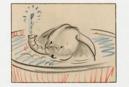 Postcard - The Art Of Disney, The Golden Age 1937-61 - Dumbo 1941 - Dumbo Taking A Bath, Story Sketch By Studio Artist - Non Classés