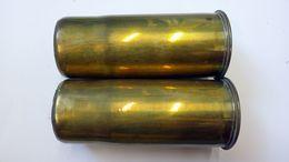 Paire De Douilles D'obus De 65mm De Montagne - WW1 - Inerte - 1914-18