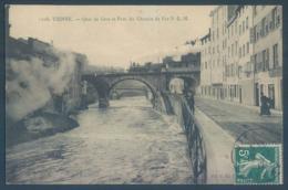 38 VIENNE Quai De Gère Et Pont Du Chemin De Fer P L M Train - Vienne