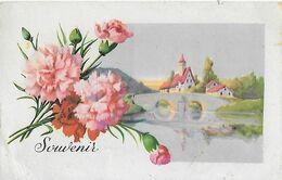 SOUVENIR  Village En Décor Avec Devant Un Bouquet D'oeillets Roses - Ansichtskarten