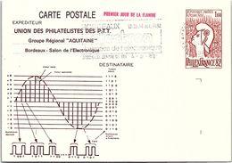 FRANCE - ENTIER POSTAL PHILEXFRANCE82 - 1er JOUR FLAMME  4.8.82 - BORDEAUX 12-14 OCT 1982 ELECTRON /2 - Cartoline Postali Ristampe (ante 1955)