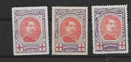 België  N°134B 134(2 Zegels) Zonder Gom - 1918 Croix-Rouge