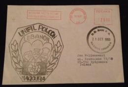 Special Rare Cover UNIFIL POLCON LEBANON Naqoura Liban Poland October 21 1993 - Libanon