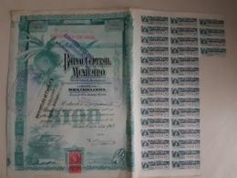 Fiscal (Fiscaux) - Action Banco Central Mexicano De 100 Pesos - 1903 - Série A - Timbre Entier Fiscal De 10 Centavos - Banco & Caja De Ahorros