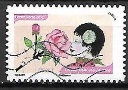 FRANCE   -    2014  .  Y&T N° 1042 Oblitéré.   Odorat   /    Les  Roses - Adhésifs (autocollants)