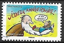 FRANCE   -    2014  .  Y&T N° 1055 Oblitéré.      Joyeux Anniversaire  /  Barbe Blanche D'un Vieillard - Adhésifs (autocollants)