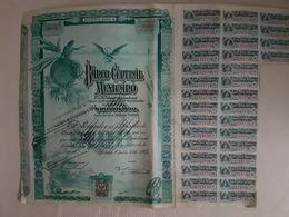 Fiscal (Fiscaux) - Action Banco Central Mexicano De 100 Pesos - 1905 - Série A - Timbre Entier Fiscal De 10 Centavos - Banco & Caja De Ahorros