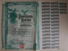 Fiscal (Fiscaux) - Action Banco Central Mexicano De 100 Pesos - 1908 - Série A - Timbre Entier Fiscal De 10 Centavos - Banco & Caja De Ahorros