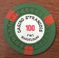 971 GUADELOUPE CASINO SAINT FRANÇOIS JETON DE 100 FRANCS CHIP TOKEN COIN - Casino