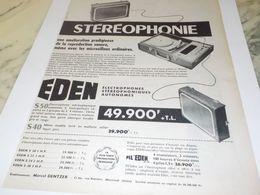 ANCIENNE PUBLICITE ELECTROPHONE EN STEREOPHONIE DE EDEN    1959 - Musica & Strumenti