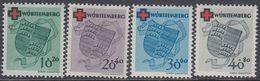 Württemberg 1949 - German Red Cross: Coat Of Arms Of Württemberg - Mi 40 A-43 A ** MNH - Französische Zone