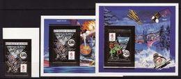 Guinea, 1990, Winter Olympics 1992 (I), Hockey, Foil, 1 Stamp + 2 S\s  Blocks Imperforated - Winter 1992: Albertville