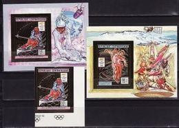 CAR, 1990, Winter Olympics 1992 (II), Foil, Stamp + 2 S\s  Blocks Imperforated - Winter 1992: Albertville