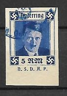 386-Allemagne III REICH-entier Postal Oblitéré Effigie D'hitler 5 RM N.s.d.h.p.sur Fragment - Deutschland