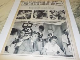 ANCIENNE PUBLICITE INGRID BERGMAN  AVEC TEPPAZ 1957 - Musica & Strumenti
