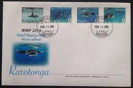 Rarotonga 2016, WWF, Mantaray, 4val In FDC - Tonga (1970-...)