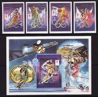 Mauritania, 1990, Winter Olympics 1992 Hockey, 4 Stamps + Blocks Imperforated - Winter 1992: Albertville
