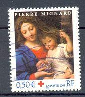 Oblitération Cachet Rond Et Ondulée 2003 - Y&T 3620 (Michel 3762) PIERRE MIGNARD CROIX ROUGE - Lot De 2 Timbres - (1) - France