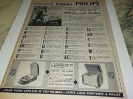 ANCIENNE PUBLICITE DISQUES  PHILIPS 1954 - Musica & Strumenti